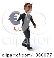 Clipart Of A 3d Young Black Devil Businessman Holding A Euro Currency Symbol And Walking On A White Background Royalty Free Illustration
