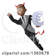Clipart Of A 3d Young Black Devil Businessman Holding A Euro Currency Symbol And Flying On A White Background Royalty Free Illustration