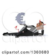Clipart Of A 3d Young Black Devil Businessman Holding A Euro Currency Symbol And Resting On His Side On A White Background Royalty Free Illustration