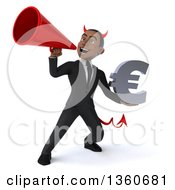 Clipart Of A 3d Young Black Devil Businessman Holding A Euro Currency Symbol And Using A Megaphone On A White Background Royalty Free Illustration