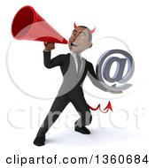 Clipart Of A 3d Young Black Devil Businessman Holding An Email Arobase At Symbol And Using A Megaphone On A White Background Royalty Free Illustration