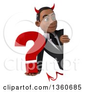 Clipart Of A 3d Young Black Devil Businessman Holding A Question Mark Around A Sign On A White Background Royalty Free Illustration