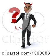 Clipart Of A 3d Young Black Devil Businessman Holding A Question Mark And Walking On A White Background Royalty Free Illustration