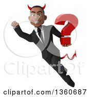 Clipart Of A 3d Young Black Devil Businessman Holding A Question Mark And Flying On A White Background Royalty Free Illustration