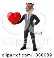 Clipart Of A 3d Young Black Devil Businessman Holding A Love Heart On A White Background Royalty Free Illustration