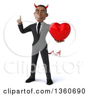 Clipart Of A 3d Young Black Devil Businessman Holding Up A Finger And A Love Heart On A White Background Royalty Free Illustration