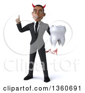 Clipart Of A 3d Young Black Devil Businessman Holding Up A Finger And A Tooth On A White Background Royalty Free Illustration