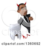 Clipart Of A 3d Young Black Devil Businessman Holding A Tooth Around A Sign On A White Background Royalty Free Illustration