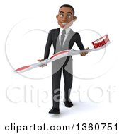 Clipart Of A 3d Young Black Businessman Carrying A Giant Toothbrush On A White Background Royalty Free Illustration
