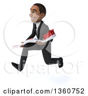 Clipart Of A 3d Young Black Businessman Carrying A Giant Toothbrush And Sprinting On A White Background Royalty Free Illustration