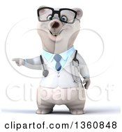 Clipart Of A 3d Bespectacled Polar Bear Doctor Or Veterinarian Pointing On A White Background Royalty Free Illustration