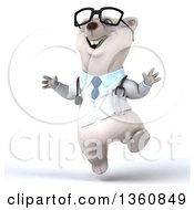 Clipart Of A 3d Bespectacled Polar Bear Doctor Or Veterinarian Jumping On A White Background Royalty Free Illustration