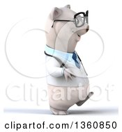 Clipart Of A 3d Bespectacled Polar Bear Doctor Or Veterinarian Walking On A White Background Royalty Free Illustration