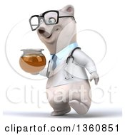 Clipart Of A 3d Bespectacled Polar Bear Doctor Or Veterinarian Walking And Holding A Honey Jar On A White Background Royalty Free Illustration