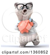 Clipart Of A 3d Bespectacled Polar Bear Doctor Or Veterinarian Walking And Holding A Piggy Bank On A White Background Royalty Free Illustration