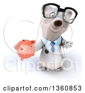 Clipart Of A 3d Bespectacled Polar Bear Doctor Or Veterinarian Holding Up A Thumb Down And A Piggy Bank On A White Background Royalty Free Illustration