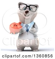 Clipart Of A 3d Bespectacled Polar Bear Doctor Or Veterinarian Holding And Pointing To A Piggy Bank On A White Background Royalty Free Illustration