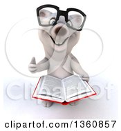 Clipart Of A 3d Bespectacled Polar Bear Holding Up A Thumb And An Open Book On A White Background Royalty Free Illustration