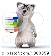 Clipart Of A 3d Bespectacled Polar Bear Holding A Stack Of Books On A White Background Royalty Free Illustration