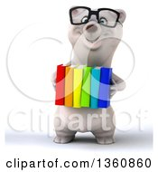 Clipart Of A 3d Bespectacled Polar Bear Holding Books On A White Background Royalty Free Illustration