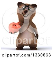 Clipart Of A 3d Bespectacled Brown Bear Holding A Piggy Bank On A White Background Royalty Free Illustration