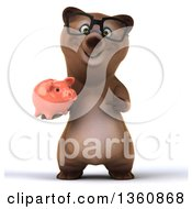 Clipart Of A 3d Bespectacled Brown Bear Holding And Pointing To A Piggy Bank On A White Background Royalty Free Illustration
