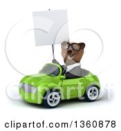 Clipart Of A 3d Bespectacled Brown Business Bear Holding A Blank Sign And Driving A Green Convertible Car On A White Background Royalty Free Illustration