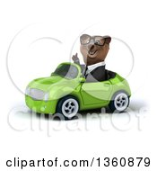 Clipart Of A 3d Bespectacled Brown Business Bear Giving A Thumb Up And Driving A Green Convertible Car On A White Background Royalty Free Illustration