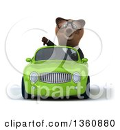 Clipart Of A 3d Bespectacled Brown Business Bear Giving A Thumb Down And Driving A Green Convertible Car On A White Background Royalty Free Illustration