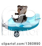 Clipart Of A 3d Bespectacled Brown Business Bear Aviator Pilot Giving A Thumb Down And Flying A Blue Airplane On A White Background Royalty Free Illustration