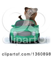 Clipart Of A 3d Bespectacled Brown Bear Giving A Thumb Up And Driving A Green Convertible Car On A White Background Royalty Free Illustration