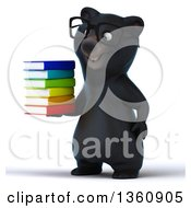 Clipart Of A 3d Bespectacled Black Bear Holding A Stack Of Books On A White Background Royalty Free Illustration