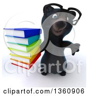 Clipart Of A 3d Bespectacled Black Bear Holding Up A Thumb Down And A Stack Of Books On A White Background Royalty Free Illustration