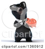Clipart Of A 3d Black Business Bear Wearing Sunglasses And Holding A Piggy Bank On A White Background Royalty Free Illustration