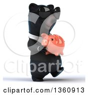 Clipart Of A 3d Black Business Bear Wearing Sunglasses Walking And Holding A Piggy Bank On A White Background Royalty Free Illustration