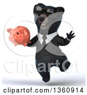 Clipart Of A 3d Black Business Bear Wearing Sunglasses Jumping And Holding A Piggy Bank On A White Background Royalty Free Illustration