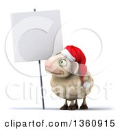 Clipart Of A 3d Christmas Sheep By A Blank Sign On A White Background Royalty Free Illustration
