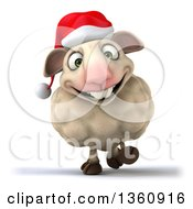 Clipart Of A 3d Christmas Sheep Walking On A White Background Royalty Free Illustration