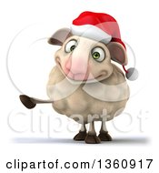 Clipart Of A 3d Christmas Sheep Pointing On A White Background Royalty Free Illustration