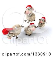 Clipart Of 3d Christmas Sheep Playing On A White Background Royalty Free Illustration