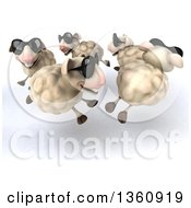 Clipart Of A 3d Flock Of Sheep Wearing Sunglasses And Running In A Circle On A White Background Royalty Free Illustration