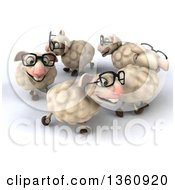 Clipart Of A 3d Flock Of Bespectacled Sheep Walking In A Circle On A White Background Royalty Free Illustration