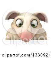 Clipart Of A 3d Sheep Looking Down Over A Sign On A White Background Royalty Free Illustration