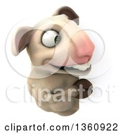 Clipart Of A 3d Sheep Looking Around A Sign On A White Background Royalty Free Illustration