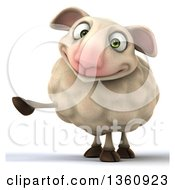 Clipart Of A 3d Sheep Pointing On A White Background Royalty Free Illustration