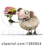 Clipart Of A 3d Sheep Holding A Bouquet Of Flowers On A White Background Royalty Free Illustration