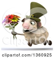 Clipart Of A 3d Irish Sheep Running And Holding A Bouquet Of Flowers On A White Background Royalty Free Illustration