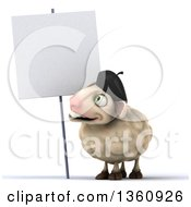 Clipart Of A 3d French Sheep Looking At A Blank Sign On A White Background Royalty Free Illustration