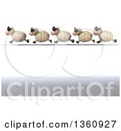 Clipart Of A 3d Line Of Sheep Wearing Sunglasses And Running Over White And Shading Royalty Free Illustration