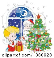 Clipart Of A Santa Claus Peeking In A Window Watching A Blond White Boy Smile At A Gift By A Christmas Tree Royalty Free Vector Illustration by Alex Bannykh